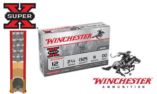 "12 GAUGE - WINCHESTER SUPER X BUCKSHOT, 2-3/4"" 00-BUCK, BOX OF 5"