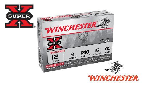 "12 GAUGE - WINCHESTER SUPER X BUCKSHOT, 3"", 00-BUCK, 15 PELLET, 1210 FPS, BOX OF 5"