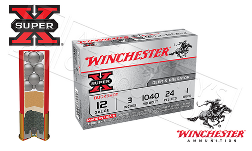 "12 GAUGE - WINCHESTER SUPER X BUCKSHOT, 3"" 0-BUCK 26 PELLET"
