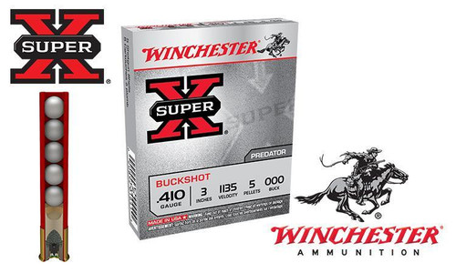 ".410 GAUGE - WINCHESTER SUPER X BUCKSHOT, 3"" 000-BUCK, BOX OF 5"