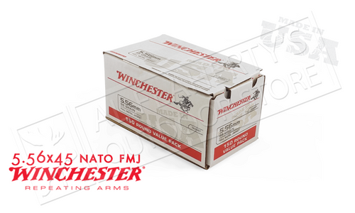 WINCHESTER 5.56X45 BULK, 55 GRAIN FMJ BOX OF 150