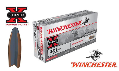 Winchester .223 Rem Super X, Power Point 64 grain, Box of 20 #X223R2