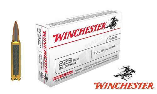 Winchester .223 Rem White Box, FMJ 62 Grain Box of 20 #USA223R3