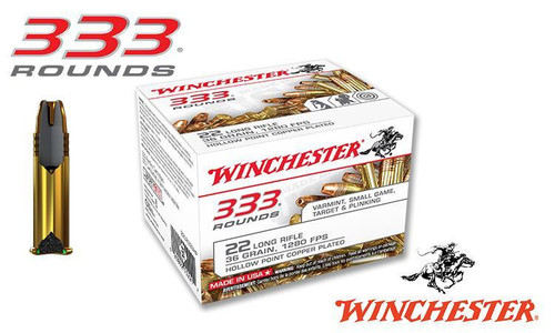 Winchester .22LR 333 Value Pack, 36 Grain JHP High Velocity, 1280 FPS, 333 Round Box #22LR333HP