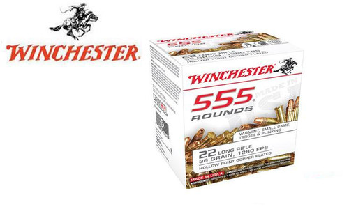 Winchester .22LR 555 Value Pack, 36 Grain JHP High Velocity, 1280 FPS, 555 Round Box #22LR555HP