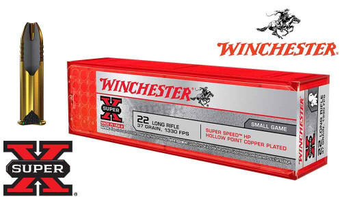 Winchester .22LR Super X, 37 Grain Hollow Point, 1330 FPS, 100 Round Box #X22LRHSS1