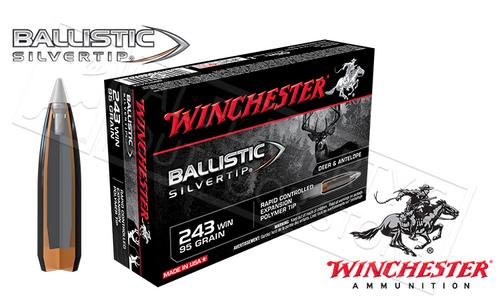Winchester .243 REM Ballistic Silvertip, Polymer Tipped 95 Grain Box of 20 #SBST243A