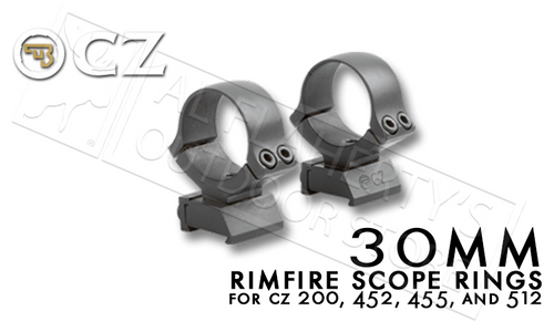 CZ 30MM RIMFIRE SCOPE RINGS FOR CZ 455 RIFLES
