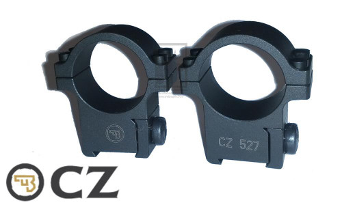 "CZ 527 STEEL 1"" SCOPE MOUNTS, HIGH, INTEGRATED BASE & RINGS"