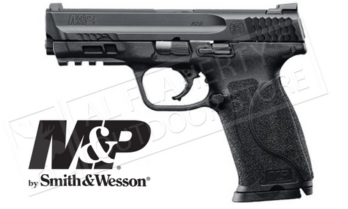 "High grip to barrel bore axis makes the M&P pistol more comfortable to shoot reducing muzzle rise and allowing for faster aim recovery. Proven optimal 18-degree grip angle for natural point of aim. Four interchangeable palmswell grip inserts for optimal hand fit and trigger reach - S, M, ML, L. Includes 2x standard 10-round factory magazines Aggressive grip texture for enhanced control. New M&P M2.0 crisp trigger with lighter trigger pull. Tactile and audible trigger reset. Accurate 1 in 10"" twist M&P M2.0 barrel. Extended rigid embedded stainless steel chassis to reduce flex and torque when firing. Armornite durable corrosion resistant finish. Specifications  Model: M&P 9 M2.0 Caliber: 9mm Capacity: 10+1 Barrel Length: 4.25"" / 10.8 cm Overall Length: 7.4"" Front Sight: Steel - White Dot Rear Sight: Steel - White Two Dot Action: Striker Fire Grip: Polymer Weight: 24.7 oz / 700.2g Barrel Material: Stainless Steel - Armornite Finish Slide Material: Stainless Steel - Armornite Finish Frame Material: Polymer"