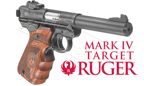 RUGER MK IV TARGET WITH WOOD LAMINATE GRIPS 22LR