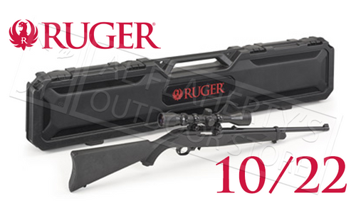 RUGER 10/22 CARBINE COMBO WITH WEAVER SCOPE AND HARD CASE
