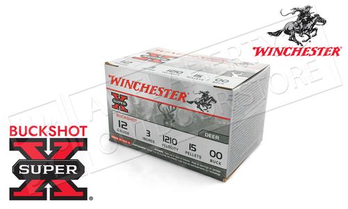 "Winchester Super-X Value Pack Buckshot for Deer 12 Gauge 3"", 00-Buck 15 Pellet Box of 15 #XB12300VP"