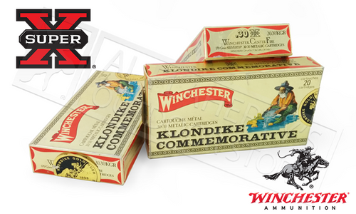 (LIMITED STOCK) WINCHESTER 30-30 WIN SUPER X KLONDIKE COMMEMORATIVE, SILVERTIP 170 GRAIN BOX OF 20