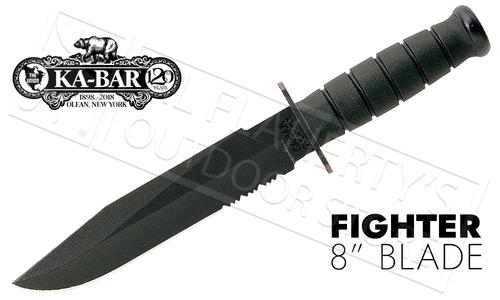 "KA-BAR Black KA-BAR Fighter, 8"" Fixed Blade with Serrations #1271"
