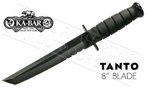 "KA-BAR Black KA-BAR Tanto, 8"" Fixed Blade with Serrations #1245"