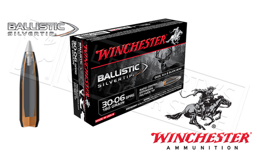 WINCHESTER 30-06 SPRINGFIELD BALLISTIC SILVERTIP, POLYMER TIPPED 180 GRAIN BOX OF 20