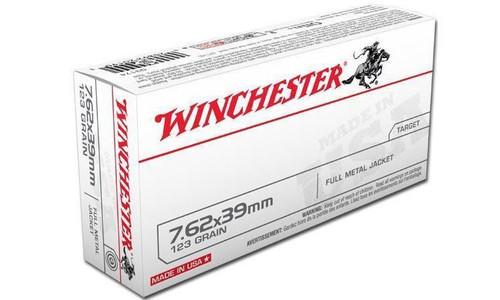 WINCHESTER 7.62X39MM WHITE BOX, FMJ 123 GRAIN BOX OF 20
