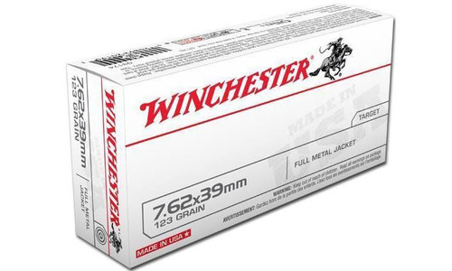 WINCHESTER 7.62X39MM WHITE BOX, FMJ 123 GRAIN BOX OF 20