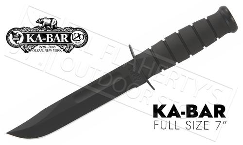 "KA-BAR Full-Size 7"" Straight Edge, Black #1211"