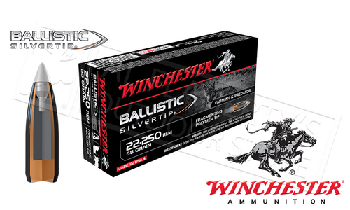 WINCHESTER 22-250 REM BALLISTIC SILVERTIP, POLYMER TIPPED 55 GRAIN BOX OF 20