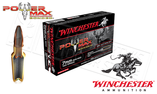 WINCHESTER 7MM REM MAG POWER MAX, BONDED HP 150 GRAIN BOX OF 20