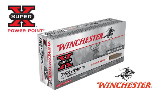 WINCHESTER 7.62X39 SUPER X, POWER POINT 123 GRAIN BOX OF 20