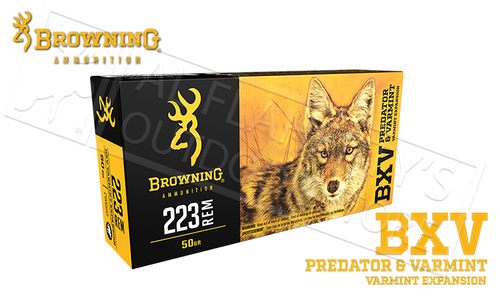 Browning Ammo 223 Rem BXV, 50 Grain Box of 20 #B192302231