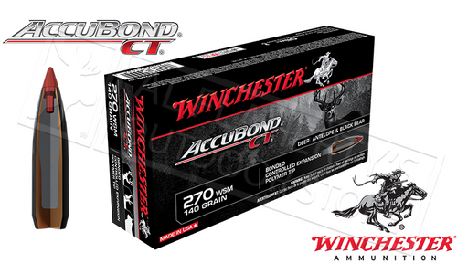 WINCHESTER 270 WSM ACCUBOND CT, POLYMER TIPPED 140 GRAIN BOX OF 20