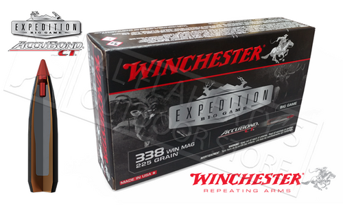 WINCHESTER 338 WM ACCUBOND CT EXPEDITION BIG GAME, POLYMER TIPPED 225 GRAIN BOX OF 20