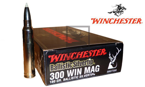 WINCHESTER 300 WINCHESTER MAGNUM BALLISTIC SILVERTIP, POLYMER TIPPED 180 GRAIN BOX OF 20