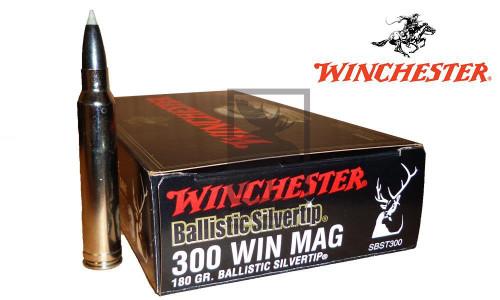 WINCHESTER 300 WINCHESTER MAGNUM BALLISTIC SILVERTIP, POLYMER TIPPED 180 GRAIN BOX OF 20