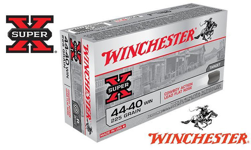 WINCHESTER .44-40 SUPER-X, COWBOY ACTION LEAD FLAT NOSE 225 GRAIN BOX OF 50