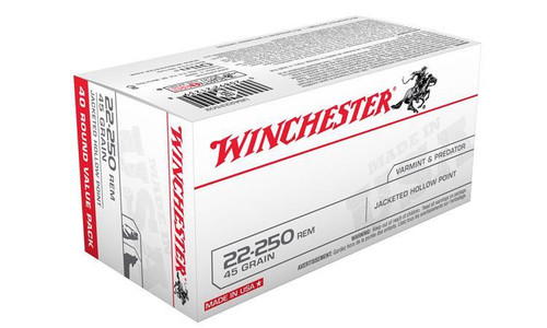 WINCHESTER 22-250 REM WHITE BOX, JHP 45 GRAIN BOX OF 40