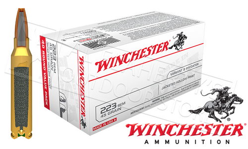 WINCHESTER 223 REM WHITE BOX VARMINT, JHP 45 GRAIN BOX OF 40
