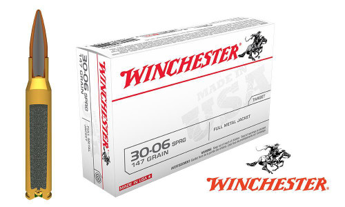 <B>(Store Pickup Only)</b><BR>Winchester .30-06 Box of 20, 147 Grain FMJ WINCHESTER .30-06 SPRINGFIELD WHITE BOX, FMJ 147 GRAIN BOX OF 20