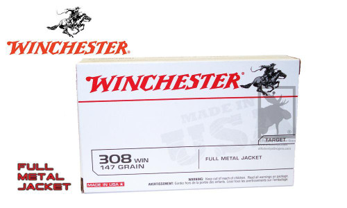 WINCHESTER .308 WHITE BOX, FMJ 147 GRAIN BOX OF 20