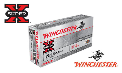 WINCHESTER 22-250 REM SUPER X, JACKETED SOFT POINT 55 GRAIN BOX OF 20