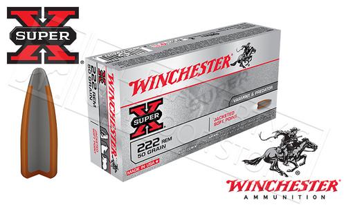 WINCHESTER 222 REM SUPER-X, JSP 50 GRAIN BOX OF 20