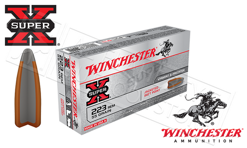 WINCHESTER 223 REM SUPER-X, JSP 55 GRAIN BOX OF 20