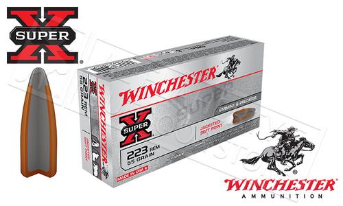 WINCHESTER 223 REM SUPER-X, JSP 55 GRAIN BOX OF 20