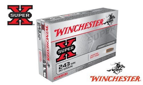 WINCHESTER .243 WIN SUPER X, JSP 80 GRAIN BOX OF 20