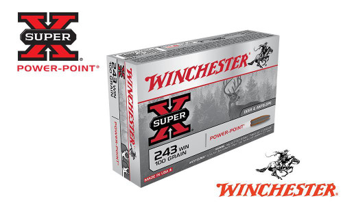 WINCHESTER .243 WIN SUPER X, POWER POINT 100 GRAIN BOX OF 20