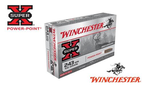 WINCHESTER .243 WIN SUPER X, POWER POINT 100 GRAIN BOX OF 20