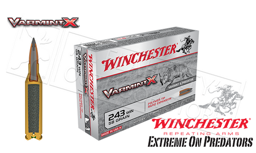 WINCHESTER .243 WIN VARMINT X, POLYMER TIPPED 58 GRAIN BOX OF 20