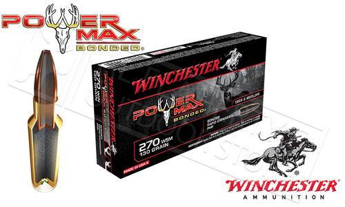 WINCHESTER 270 WIN POWER MAX, BONDED HP 130 GRAIN BOX OF 20