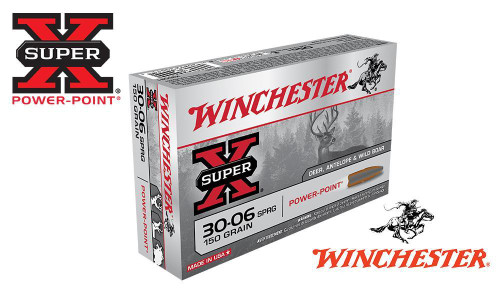 WINCHESTER 30-06 SPRINGFIELD SUPER X, POWER POINT 150 GRAIN BOX OF 20