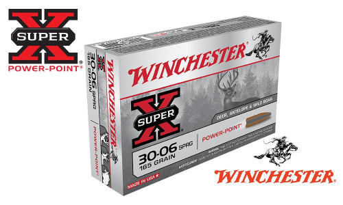 WINCHESTER 30-06 SPRINGFIELD SUPER X, POWER POINT 165 GRAIN BOX OF 20