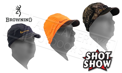 Browning Hat Bullseye Beanie with Brim and Flip Down Ear Covers - Blaze Black or Camo #308531