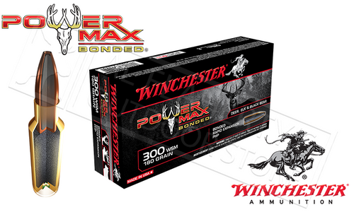 WINCHESTER 300 WSM POWER MAX, BONDED HP 180 GRAIN BOX OF 20